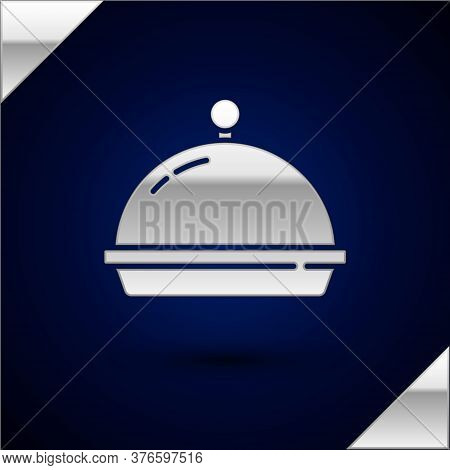Silver Covered With A Tray Of Food Icon Isolated On Dark Blue Background. Tray And Lid. Restaurant C