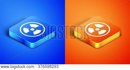 Isometric Radioactive Icon Isolated On Blue And Orange Background. Radioactive Toxic Symbol. Radiati