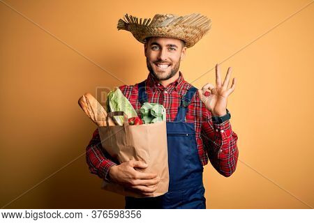 Young rural farmer man holding fresh groceries from marketplace over yellow background doing ok sign with fingers, excellent symbol