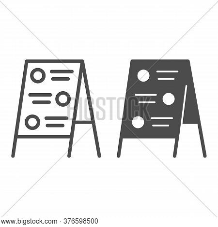Menu Board Line And Solid Icon, Street Food Concept, Sidewalk Restaurant Advert Sign On White Backgr