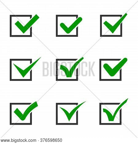 Checkmark Or Tick Mark Collection Set. Acceptance, Approval, Right Choice, Correct Selection, True O