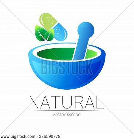 Mortar And Pestle Vector Symbol With Pill Capsule And Leaf. Logo Of Nature Herb Illustration. Concep