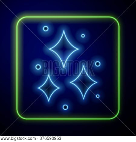 Glowing Neon Firework Icon Isolated On Blue Background. Concept Of Fun Party. Explosive Pyrotechnic