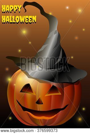 Pumpkin In Hat With Muzzle. Vector Illustration
