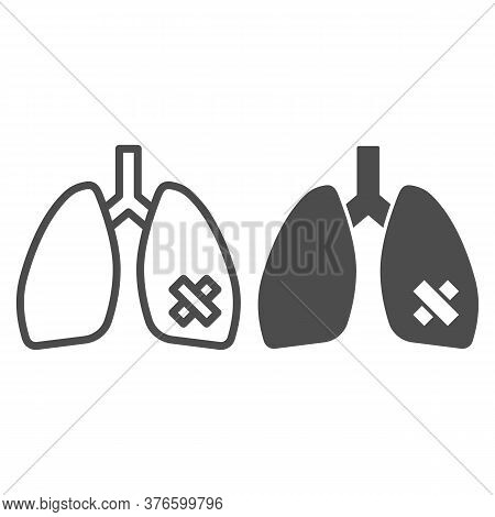Diseased Lungs Organ Line And Solid Icon, Smoking Concept, Smoker Lung Sign On White Background, Hum