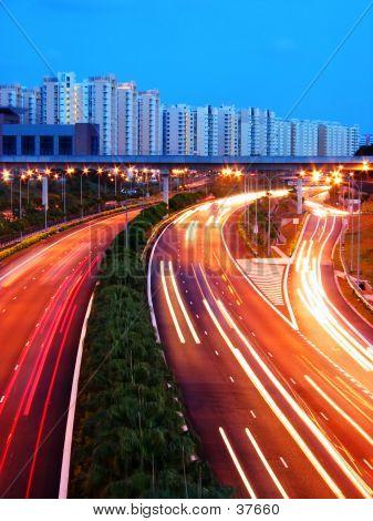 Evening Shot Of Expressway