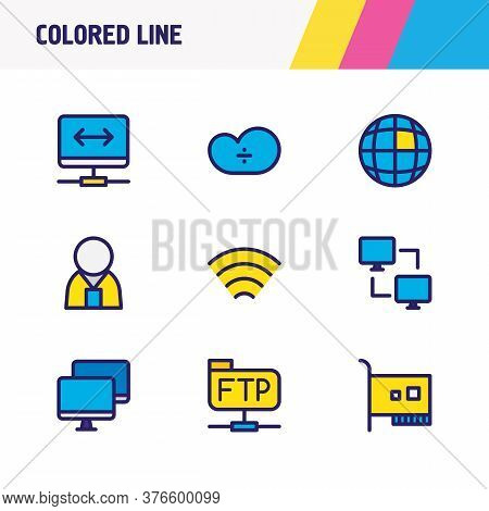 Vector Illustration Of 9 Network Icons Colored Line. Editable Set Of Network Administrator, Internet