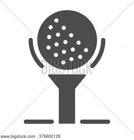 Golf Ball On Tee Solid Icon, Golfing Concept, Golfball Sign On White Background, Golf Ball Icon In G
