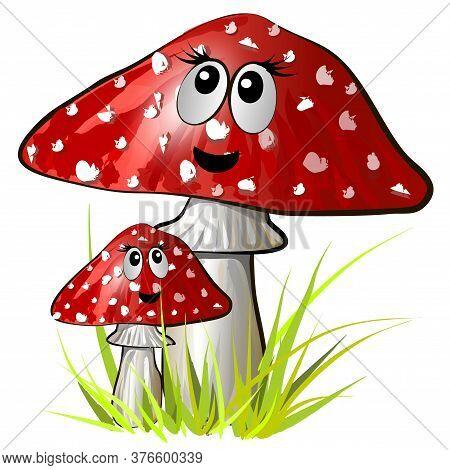 Amanita Mushroom With Muzzles. Vector Colorful Illustration