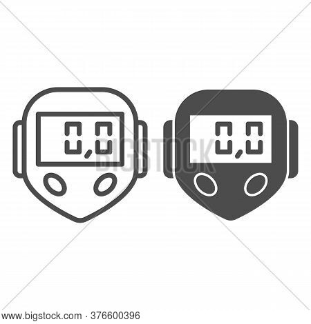 Bicycle Speedometer Line And Solid Icon, Bicycle Concept, Speedometer Sign On White Background, Bike