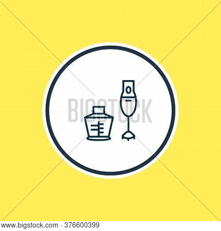 Vector Illustration Of Hand Blender Icon Line. Beautiful Appliance Element Also Can Be Used As Mixin