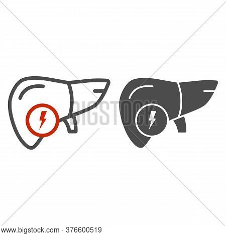 Liver Pain Line And Solid Icon, Health Problems Concept, Sick Human Liver Sign On White Background,