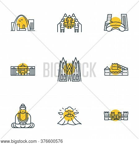 Vector Illustration Of 9 Tourism Icons Line Style. Editable Set Of Cloud Gate, Cologne Cathedral, Wi