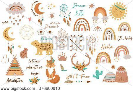 Tribal Kids Set Elements. Boho Teepee, Rainbow, Arrow, Moon, Sun, Boho Animals, Dream Catcher, Deer