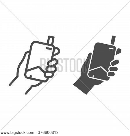 Hand With Electronic Cigarette Line And Solid Icon, Smoking Concept, E Cigarette In Hand Sign On Whi