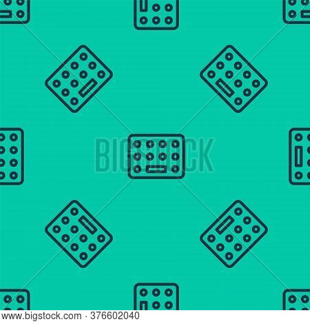 Blue Line Pills In Blister Pack Icon Isolated Seamless Pattern On Green Background. Medical Drug Pac