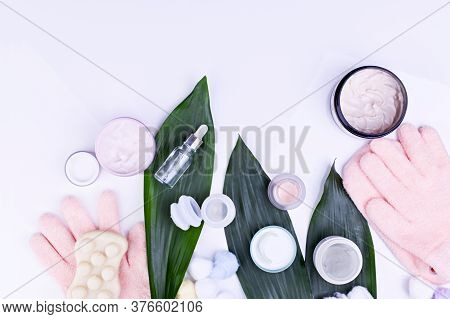 Beauty, Spa Treatments In The Salon And At Home. Cream, Masseur, Oil, Gloves For Moisturizing Hands