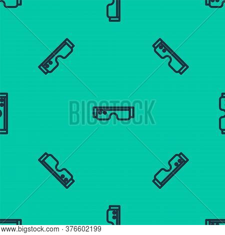 Blue Line Smart Glasses Mounted On Spectacles Icon Isolated Seamless Pattern On Green Background. We