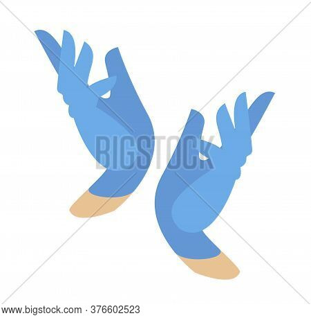 Hands In Protective Blue Gloves. Latex Gloves As A Symbol Of Protection Against Viruses And Bacteria