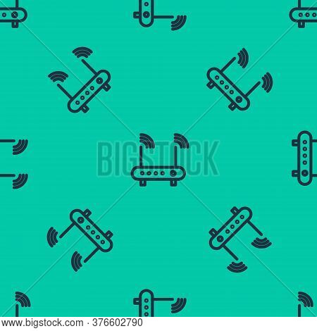 Blue Line Router And Wi-fi Signal Symbol Icon Isolated Seamless Pattern On Green Background. Wireles