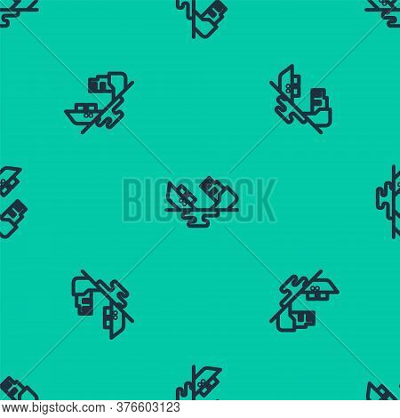 Blue Line Wrecked Oil Tanker Ship Icon Isolated Seamless Pattern On Green Background. Oil Spill Acci