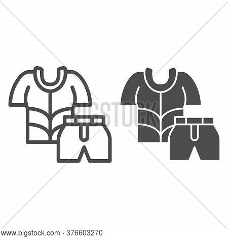Cyclist Suit Line And Solid Icon, Cycling Clothes Concept, Bike Shirt And Shorts Sign On White Backg