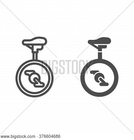 Unicycle Line And Solid Icon, Amusement Park Concept, One Wheel Bicycle Sign On White Background, Mo