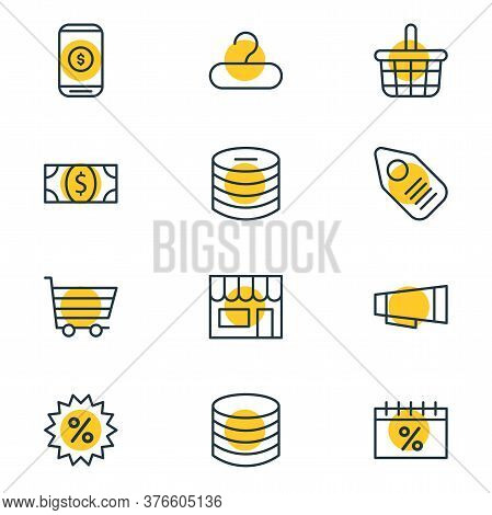 Vector Illustration Of 12 Wholesale Icons Line Style. Editable Set Of Money, Sales Day, Coins And Ot