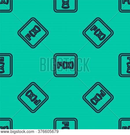 Blue Line Math System Of Equation Solution On Computer Monitor Icon Isolated Seamless Pattern On Gre