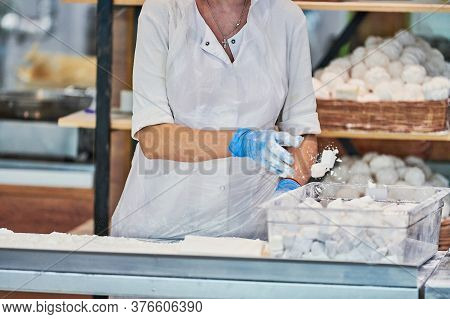 Confectioner Woman Makes Sweet Delicious. Pastry-cook Cooks Pastila And Sharbat - Tasty Sweetness. C