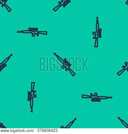 Blue Line Sniper Rifle With Scope Icon Isolated Seamless Pattern On Green Background. Vector Illustr