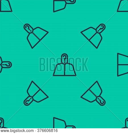 Blue Line Anonymous Man With Question Mark Icon Isolated Seamless Pattern On Green Background. Unkno