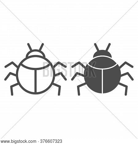 Beetle Line And Solid Icon, Insects Concept, Bug Sign On White Background, Round Shaped Beetle Silho