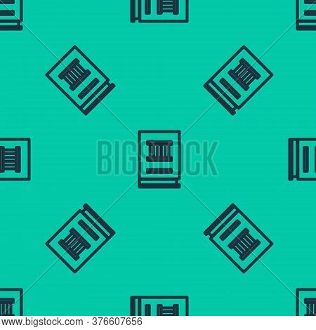 Blue Line Law Book Icon Isolated Seamless Pattern On Green Background. Legal Judge Book. Judgment Co