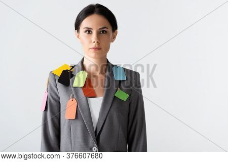 Attractive Businesswoman With Labels On Formal Wear Standing Isolated On White, Gender Inequality Co