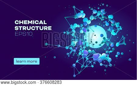 Chemical Structure For Medical Design. Abstract Color Background. Scientific Research. Molecular Eng