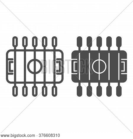 Table Football Line And Solid Icon, Amusement Park Concept, Foosball Sign On White Background, Table