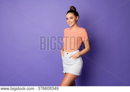 Portrait Of Her She Nice-looking Attractive Lovely Winsome Lovable Cheerful Cheery Girl Holding Hand
