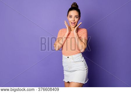 Portrait Of Astonished Positive Girl Hear Wonderful Black Friday Novelty Impressed Scream Shout Wear