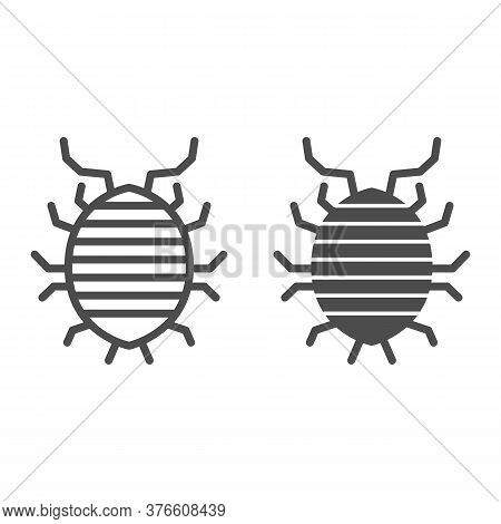 Woodlouse Line And Solid Icon, Bugs Concept, Roll Up Bug Sign On White Background, Sowbug Icon In Ou