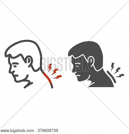 Neck Pain Line And Solid Icon, Body Pain Concept, Man Suffering From Neck Ache Sign On White Backgro