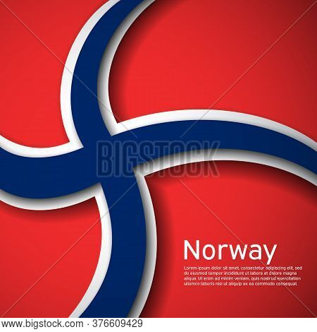 Background With Flag Of Norway. State Norwegian Patriotic Banner, Flyer. National Poster Design Of N