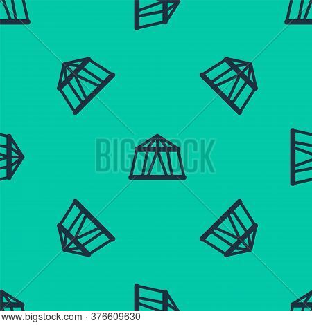 Blue Line Circus Tent Icon Isolated Seamless Pattern On Green Background. Carnival Camping Tent. Amu