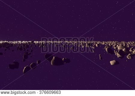 Asteroid Horizon, Rocks And Debris Flying Through Space, 3d Render