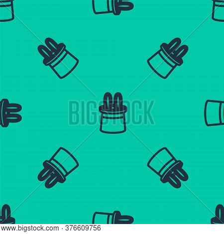 Blue Line Magician Hat And Rabbit Ears Icon Isolated Seamless Pattern On Green Background. Magic Tri