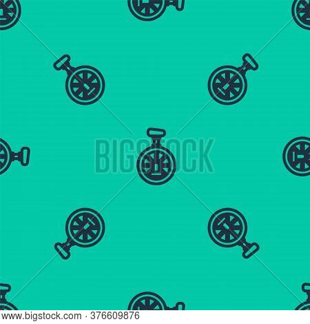 Blue Line Unicycle Or One Wheel Bicycle Icon Isolated Seamless Pattern On Green Background. Monowhee