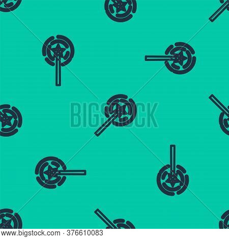 Blue Line Magic Wand Icon Isolated Seamless Pattern On Green Background. Star Shape Magic Accessory.