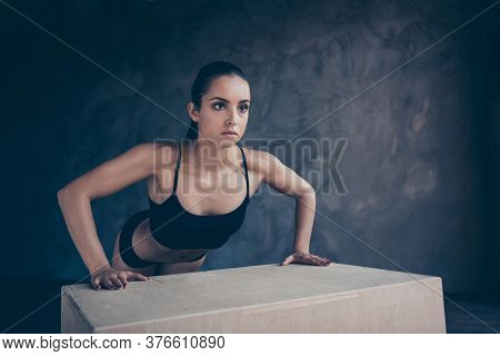 Portrait Of Her She Nice-looking Attractive Sportive Purposeful Strong Slim Thin Lady Working Out Bo