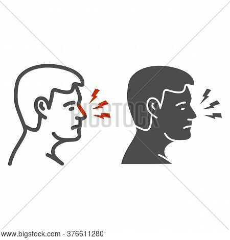 Nose Hurts Line And Solid Icon, Body Pain Concept, Human Nose With Lightning Sign On White Backgroun