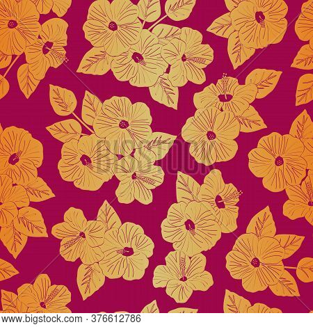 Vector Hibiscus Flowers Silhouettes In Yellow And Orange Ombre On Pink Background Seamless Repeat Pa